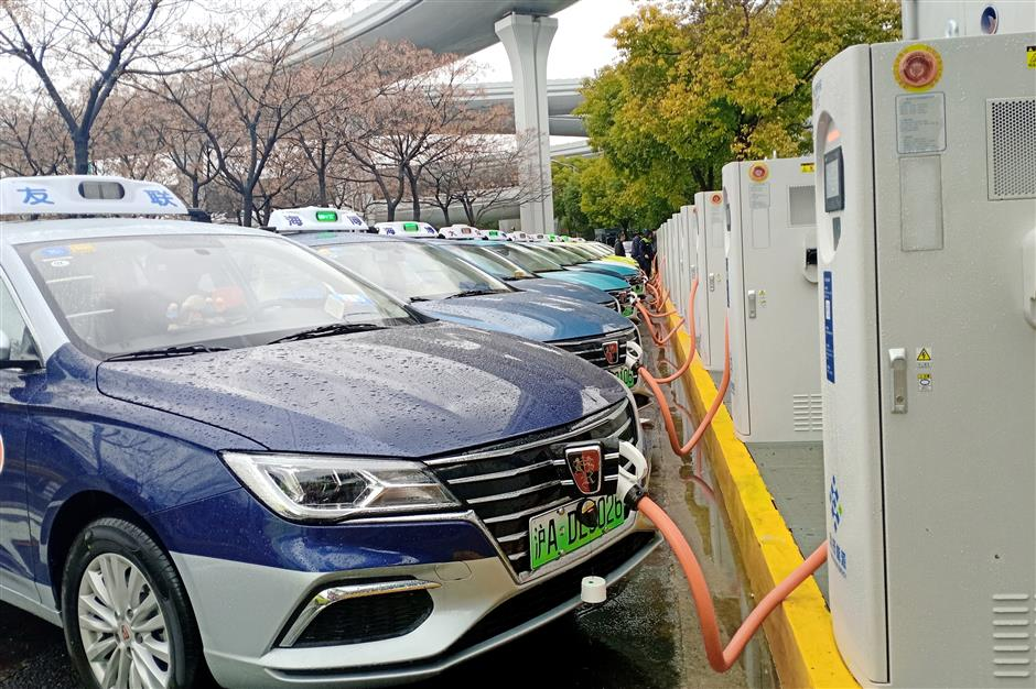 New charging site for electric cabs at Hongqiao airport