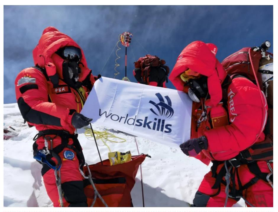 WorldSkills flag taken to top of the world