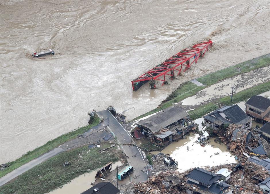 7 dead due to heavy rains, flooding in southwestern Japan