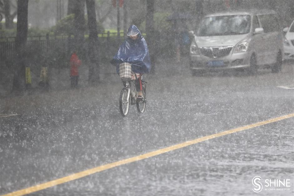 Shanghai lashed by rain, more wet weather forecast