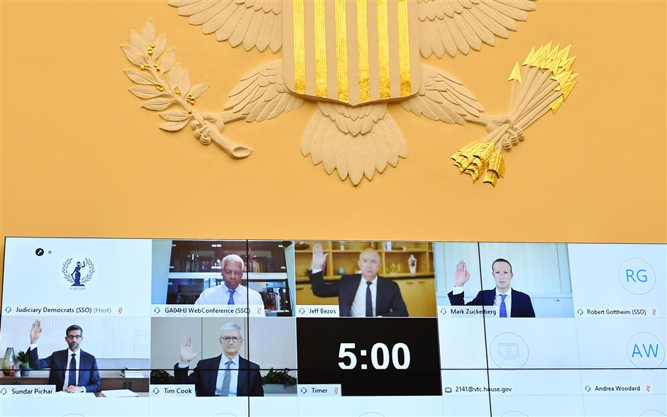 Lawmakers pummel big tech CEOs at US antitrust hearing