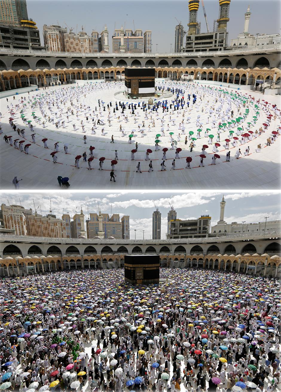 Pilgrims keep at a distance in Mecca for hajj