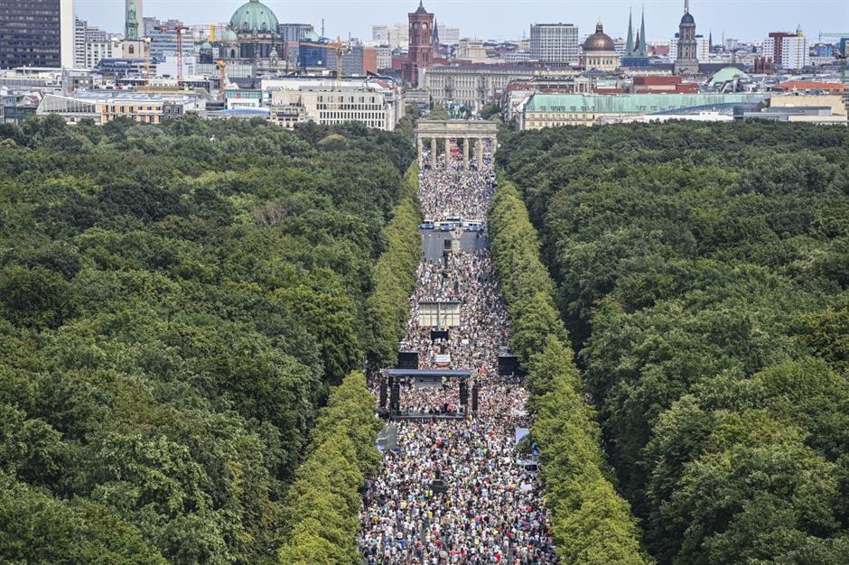 Berlin protest over virus restrictions draws thousands