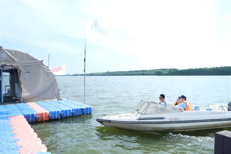 Medical team trials tent hospital on water