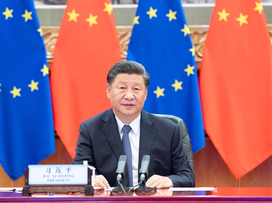 Xi co-hosts China-Germany-EU leaders meeting via video link
