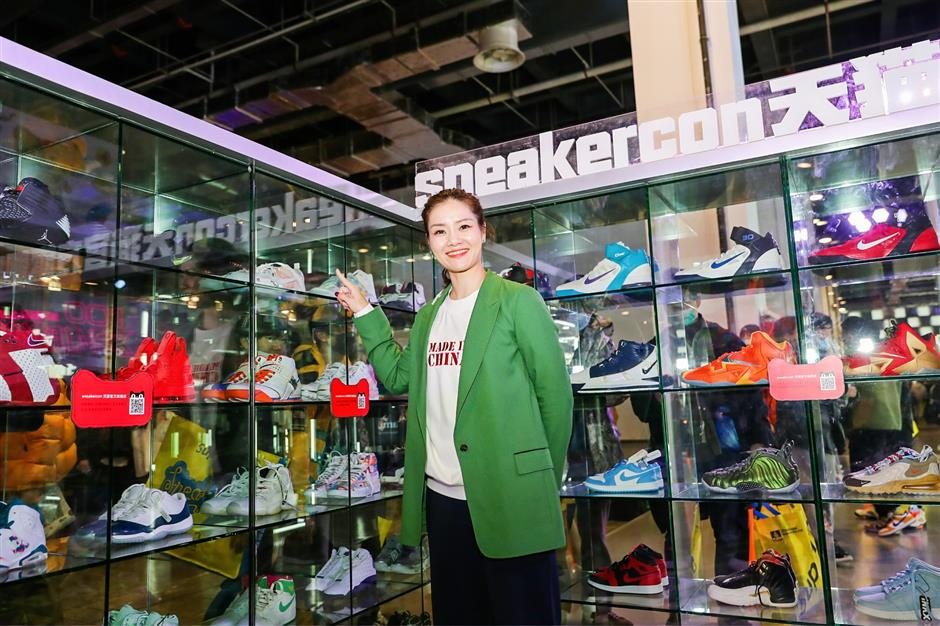 Tennis icon Li appears at Sneaker Con in city