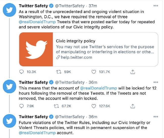 Twitter blocks Trump, threatens permanent ban over inciting violence
