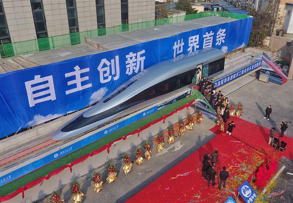 China tests domestically built superfast maglev train