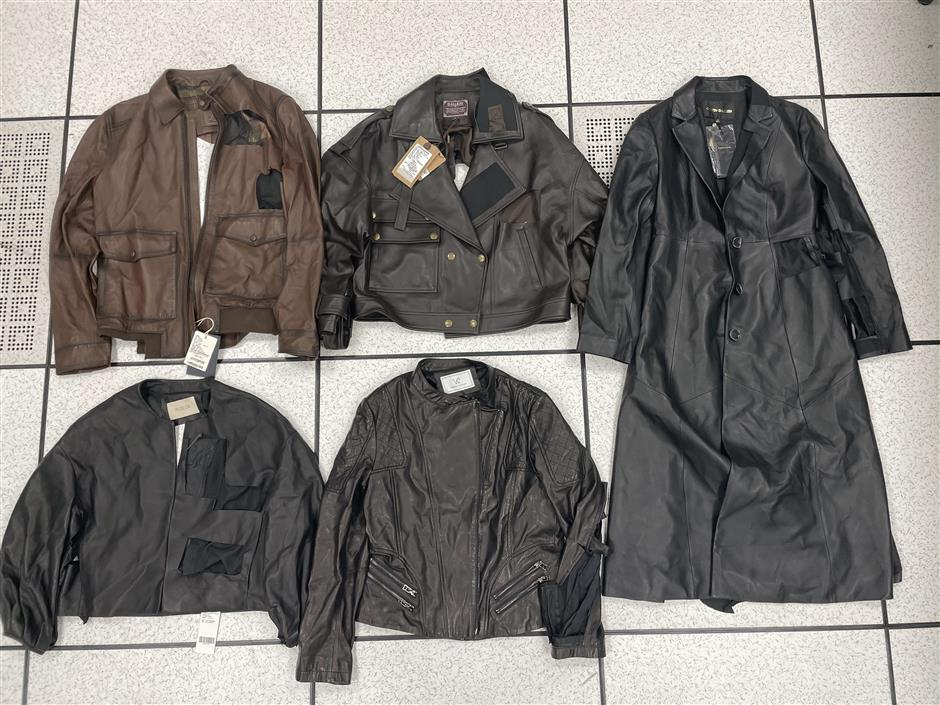 Inferior quality leather clothing pulled from local store shelves