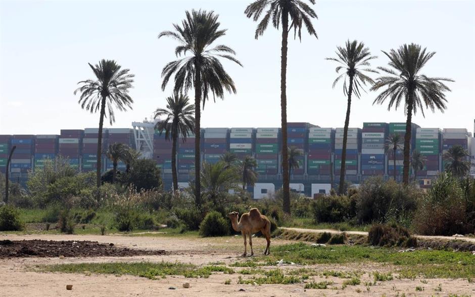 321 vessels jammed around Suez Canal as salvage of stuck container ship underway