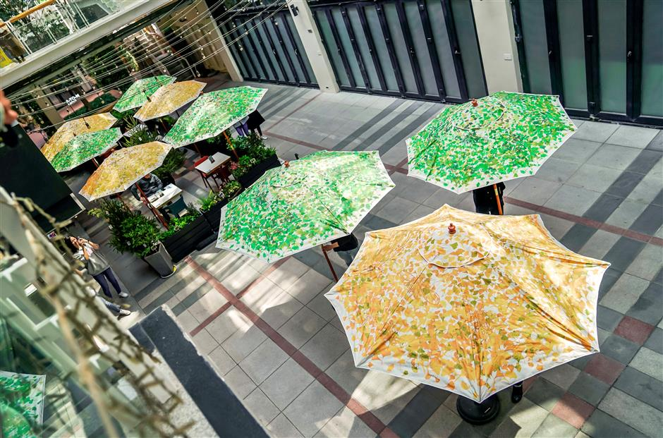 Ginkgo umbrellas highlight recycling project