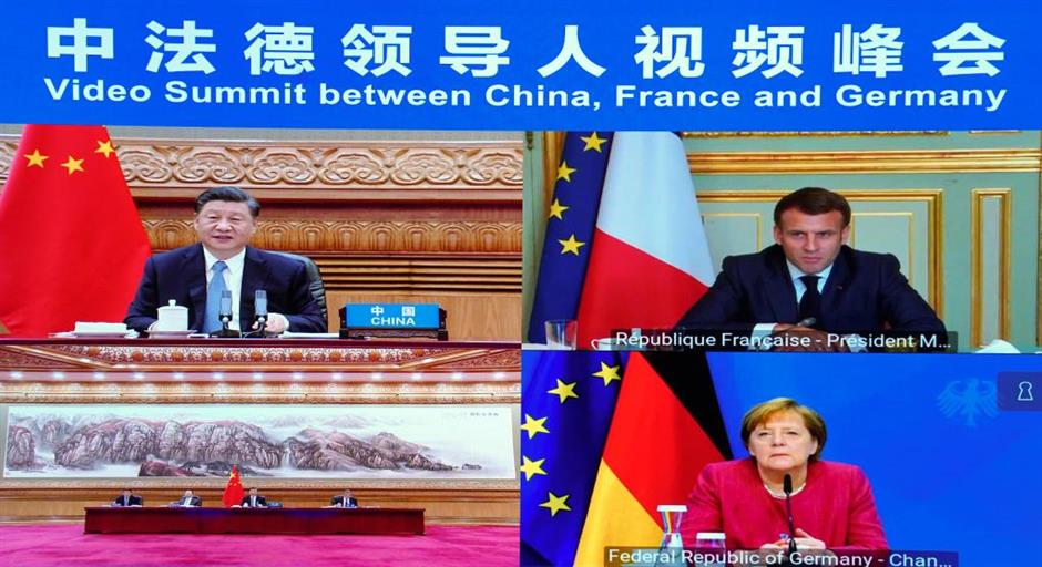 Xi attends video summit with French, German leaders