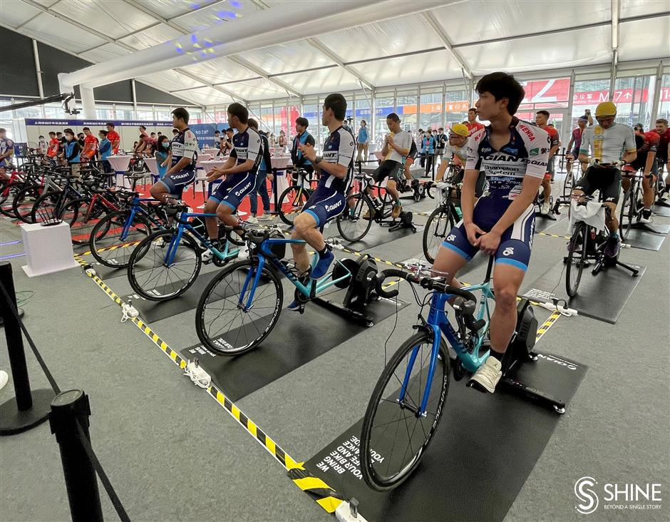 Riders on their bikes for online competition