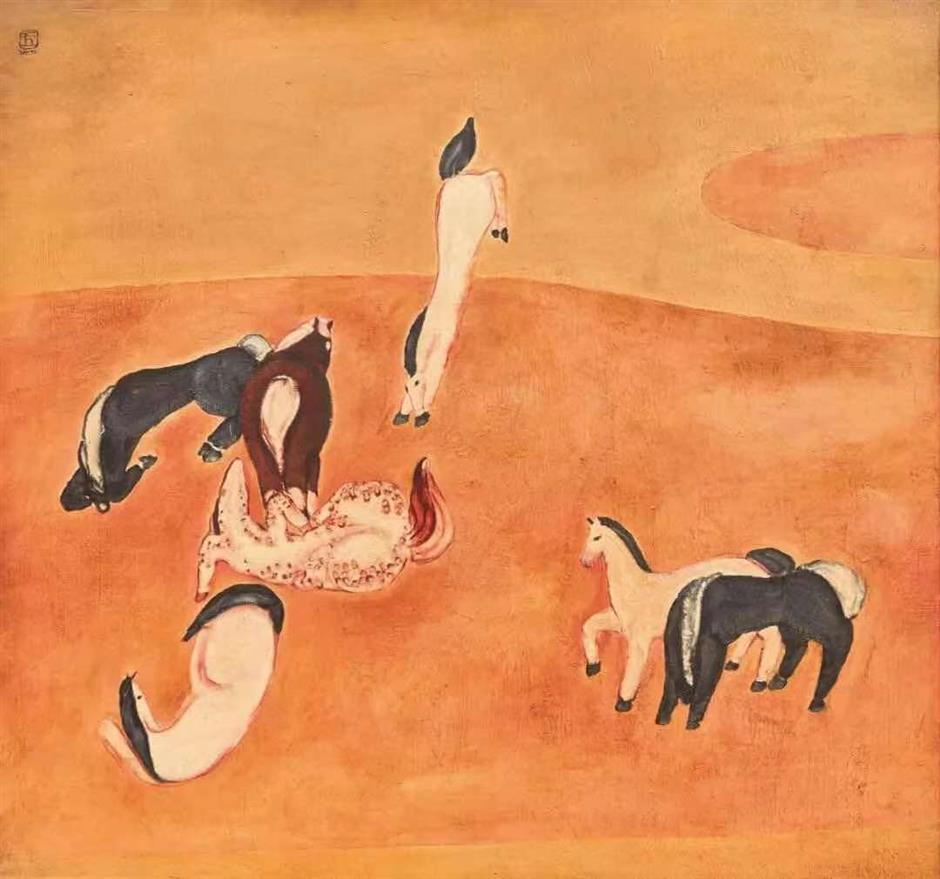 Chinese-French painterSanyusChevauxon show