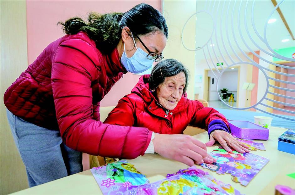 Elderly residents settling in at their new home