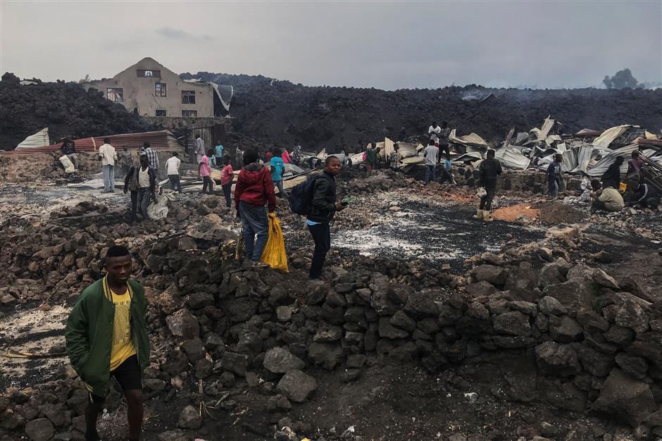 Lava spares key Congo city as thousands flee volcano