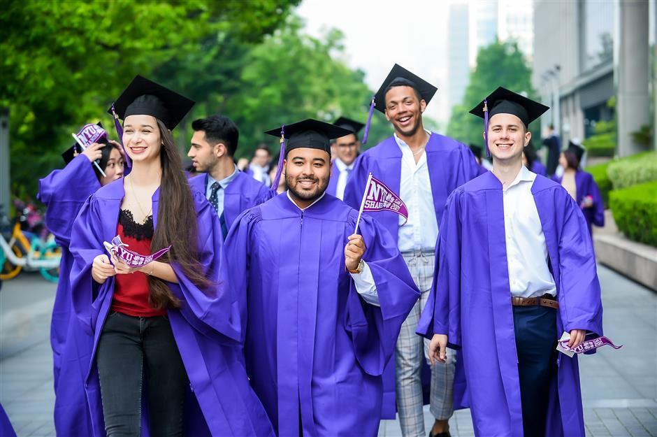 NYU Shanghai graduating students celebrate