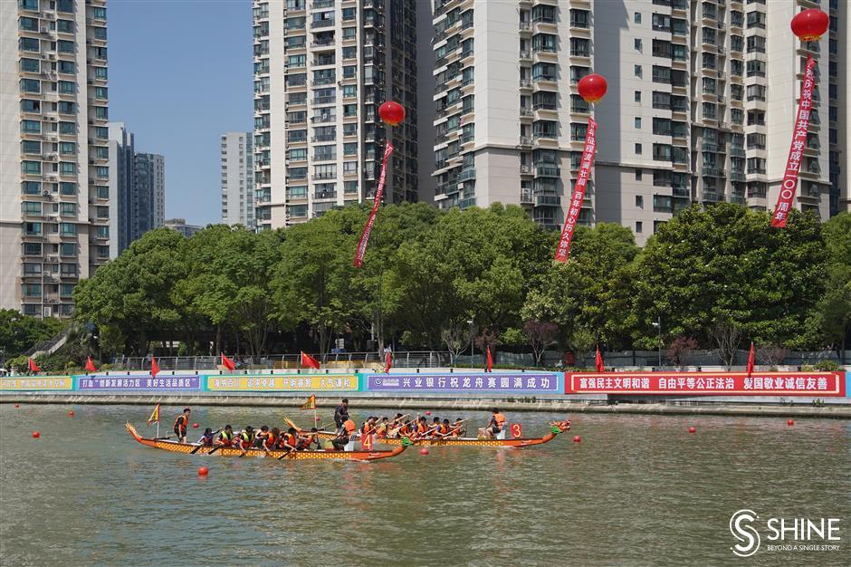 Dragon boats make a splash returning to Suzhou Creek