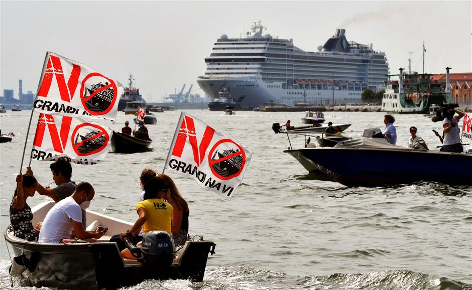 Protests as 1st post-virus cruise ship leaves Venice