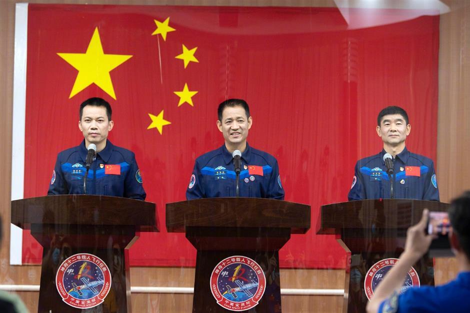 Astronauts of China's Shenzhou-12 mission meet press