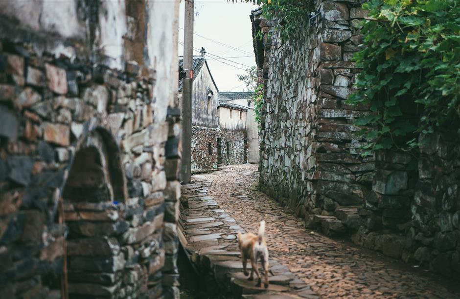 Ancient stone village built of volcanic rock