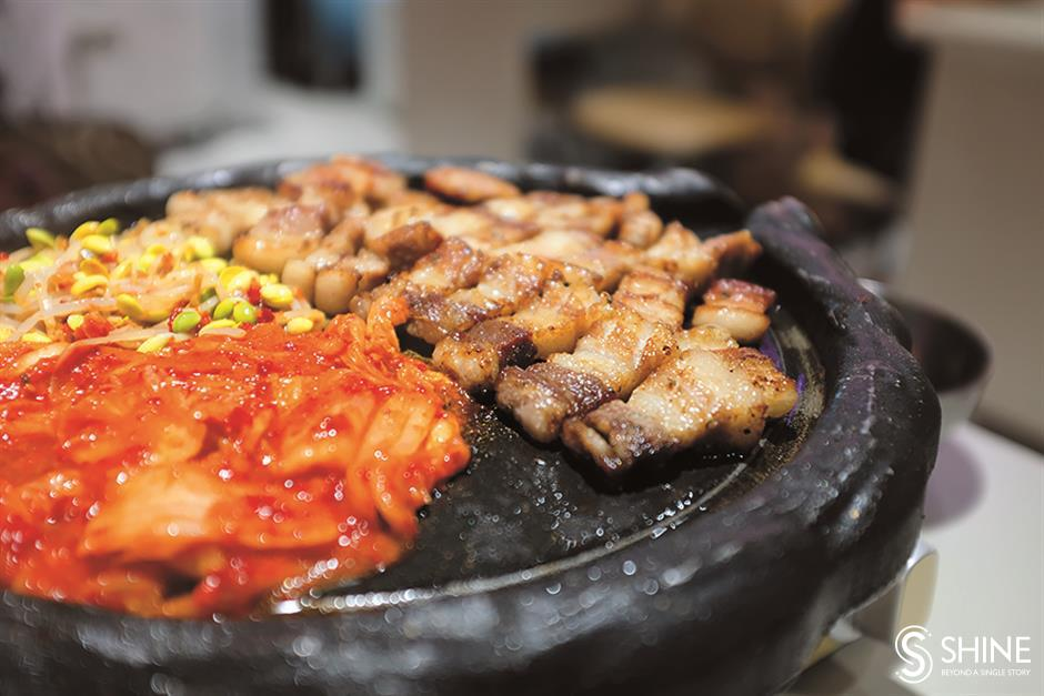 Korean barbecue with a focus on everything pork