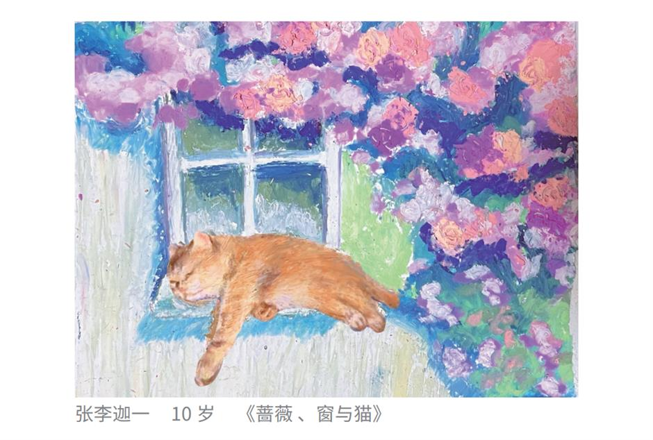 Colorful paintings are the cat's whiskers