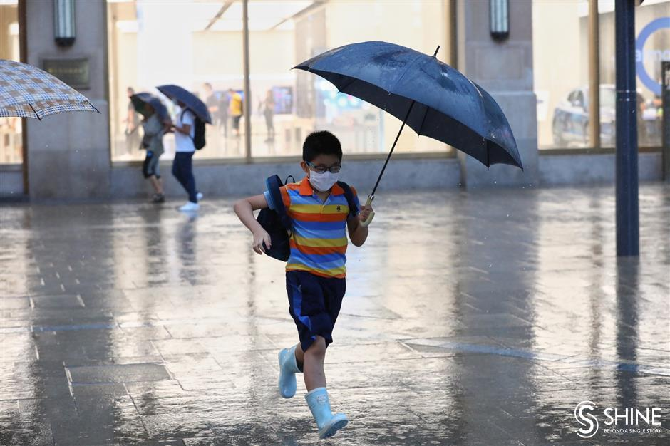 Typhoon alert decreased to second-lowest level in Shanghai